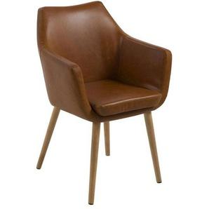 AC Design Nora Armlehnstuhl Lederlook Vintage 58x58x84cm Cognac/Eiche Cognac/Eiche