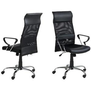 AC Design Rosenheim Bürostuhl 65x62x121cm Schwarz/Schwarz Schwarz/Schwarz