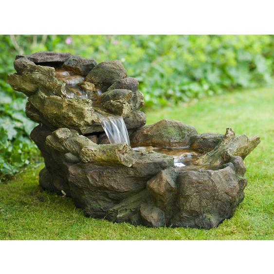 Acqua Arte Wasserspiel Aspen Mini-Wasserfall mit LED Beleuchtung H 50 x 50 x 105
