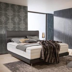 ADA Premium Boxspringbett, Grau, Leder 180 x 200 cm