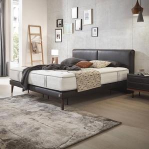 ADA Premium Boxspringbett, Schwarz, Leder 180 x 200 cm