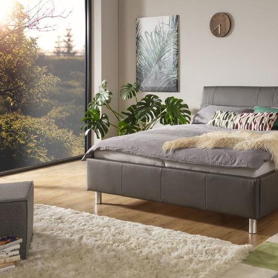 ADA trendline Polsterbett Fossey Leder SLW, 140x200 cm Höhe Bettseite: 44 cm, ohne Matratze grau Doppelbetten Betten