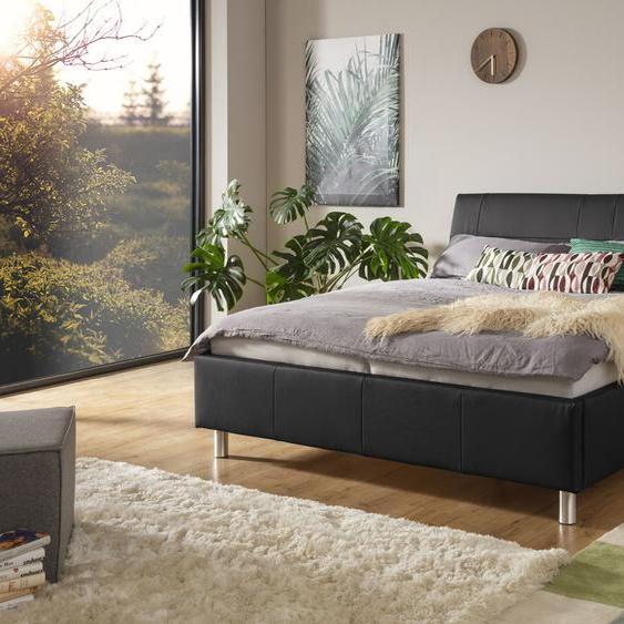 ADA trendline Polsterbett Fossey Leder SLW, 140x200 cm Höhe Bettseite: 44 cm, ohne Matratze schwarz Doppelbetten Betten