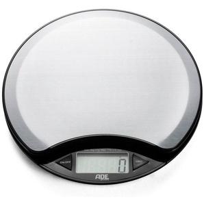 ADE Digitale Küchenwaage KE 854 - Anja, Rund und gut - Edelstahl-Küchenwaage mit Raumthermometer