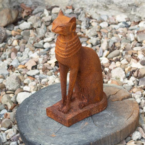 Ägyptische Katzen- Skulptur, Bastet, Katzenfigur aus Gusseisen, wie Antik