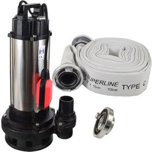 Agora-Tec® Bau-, Abwasser- und Schmutzwasserpumpe 1500W mit 15 Meter C-Schlauch und STORZ Kupplung