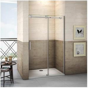 Duschabtrennung 140x195cm ,8mm NANO GLASS ,Schiebetür Duschkabine Duschwand Dusche Echtglas - AICA SANITAIRE