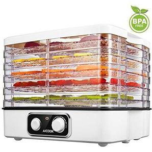 Aicook Dörrautomat mit Temperaturregler, Höheverstellbares Dörrgerät für Lebensmittel, Obst- Fleisch- Früchte-Trockner, Dehydrator, Temperaturwahl 35-70°C, BPA-frei
