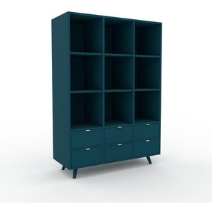 Aktenregal Marineblau - Flexibles Büroregal: Schubladen in Marineblau - Hochwertige Materialien - 118 x 168 x 47 cm, konfigurierbar