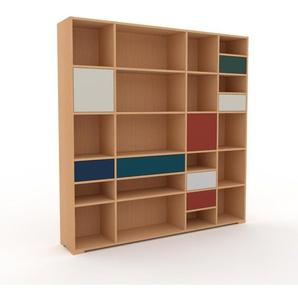 Aktenregal Buche - Büroregal: Schubladen in Nachtblau & Türen in Sandgrau - Hochwertige Materialien - 193 x 196 x 35 cm, konfigurierbar