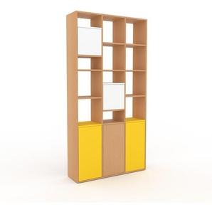 Aktenregal Buche - Flexibles Büroregal: Türen in Weiß - Hochwertige Materialien - 118 x 233 x 35 cm, konfigurierbar