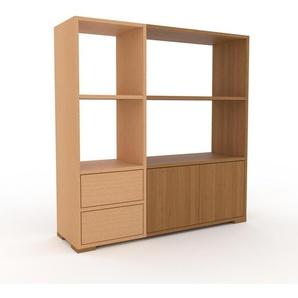 Aktenregal Buche - Büroregal: Schubladen in Buche & Türen in Eiche - Hochwertige Materialien - 116 x 120 x 35 cm, konfigurierbar