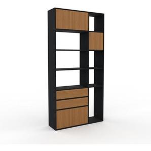Aktenregal Schwarz - Büroregal: Schubladen in Eiche & Türen in Eiche - Hochwertige Materialien - 116 x 233 x 35 cm, konfigurierbar