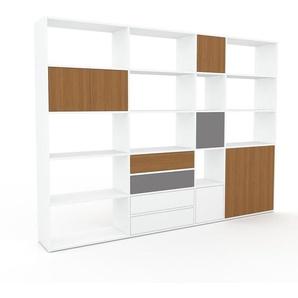 Aktenregal Weiß - Büroregal: Schubladen in Weiß & Türen in Eiche - Hochwertige Materialien - 265 x 195 x 35 cm, konfigurierbar
