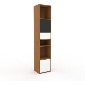 Aktenregal Eiche - Büroregal: Schubladen in Weiß & Türen in Weiß - Hochwertige Materialien - 41 x 195 x 35 cm, konfigurierbar