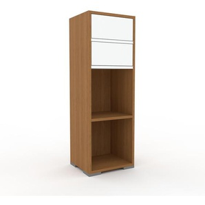 Aktenregal Eiche - Flexibles Büroregal: Schubladen in Weiß - Hochwertige Materialien - 41 x 120 x 35 cm, konfigurierbar