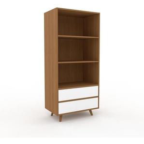 Aktenregal Eiche - Flexibles Büroregal: Schubladen in Weiß - Hochwertige Materialien - 77 x 168 x 47 cm, konfigurierbar