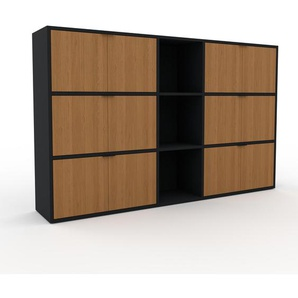 Aktenregal Schwarz - Flexibles Büroregal: Türen in Eiche - Hochwertige Materialien - 190 x 118 x 35 cm, konfigurierbar