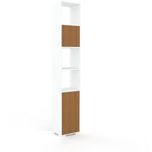 Aktenregal Weiß - Flexibles Büroregal: Türen in Eiche - Hochwertige Materialien - 41 x 235 x 35 cm, konfigurierbar