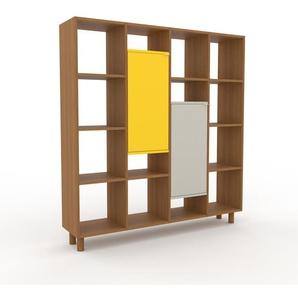 Aktenregal Eiche - Flexibles Büroregal: Türen in Zitronengelb - Hochwertige Materialien - 156 x 168 x 35 cm, konfigurierbar