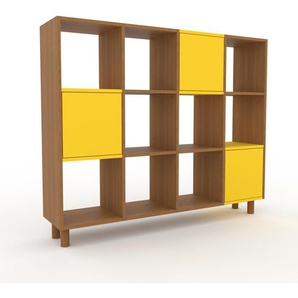 Aktenregal Eiche - Flexibles Büroregal: Türen in Gelb - Hochwertige Materialien - 156 x 130 x 35 cm, konfigurierbar