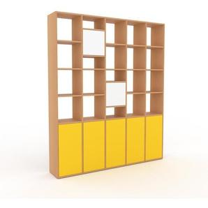Aktenregal Buche - Flexibles Büroregal: Türen in Gelb - Hochwertige Materialien - 195 x 233 x 35 cm, konfigurierbar