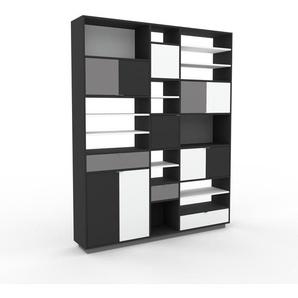 Aktenregal Anthrazit - Büroregal: Schubladen in Grau & Türen in Anthrazit - Hochwertige Materialien - 190 x 239 x 35 cm, konfigurierbar