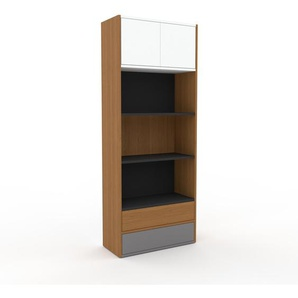 Aktenregal Eiche - Büroregal: Schubladen in Grau & Türen in Weiß - Hochwertige Materialien - 77 x 195 x 35 cm, konfigurierbar