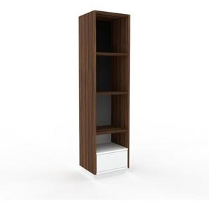 Aktenregal Nussbaum - Flexibles Büroregal: Schubladen in Weiß - Hochwertige Materialien - 41 x 162 x 35 cm, konfigurierbar