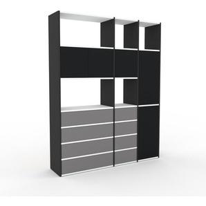 Aktenregal Anthrazit - Büroregal: Schubladen in Grau & Türen in Schwarz - Hochwertige Materialien - 154 x 195 x 35 cm, konfigurierbar