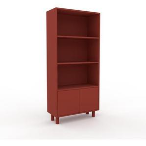 Aktenregal Rot - Flexibles Büroregal: Türen in Rot - Hochwertige Materialien - 77 x 168 x 35 cm, konfigurierbar