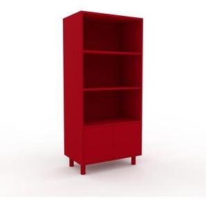 Aktenregal Rot - Flexibles Büroregal: Türen in Rot - Hochwertige Materialien - 77 x 168 x 47 cm, konfigurierbar