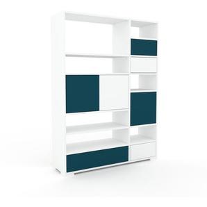 Aktenregal Weiß - Büroregal: Schubladen in Blau & Türen in Blau - Hochwertige Materialien - 116 x 158 x 35 cm, konfigurierbar