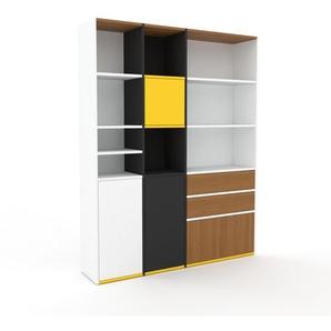 Aktenregal Weiß - Büroregal: Schubladen in Eiche & Türen in Eiche - Hochwertige Materialien - 154 x 195 x 35 cm, konfigurierbar