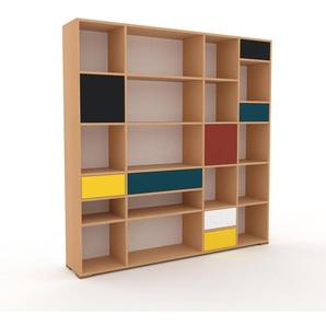 Aktenregal Buche - Büroregal: Schubladen in Gelb & Türen in Schwarz - Hochwertige Materialien - 193 x 196 x 35 cm, konfigurierbar