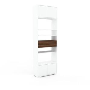 Aktenregal Weiß - Büroregal: Schubladen in Nussbaum & Türen in Weiß - Hochwertige Materialien - 77 x 235 x 35 cm, konfigurierbar
