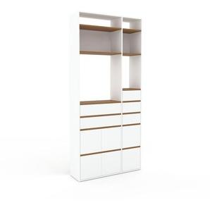 Aktenregal Weiß - Büroregal: Schubladen in Weiß & Türen in Weiß - Hochwertige Materialien - 116 x 253 x 35 cm, konfigurierbar