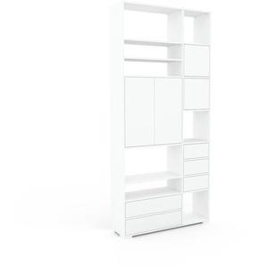 Aktenregal Weiß - Büroregal: Schubladen in Weiß & Türen in Weiß - Hochwertige Materialien - 116 x 254 x 35 cm, konfigurierbar