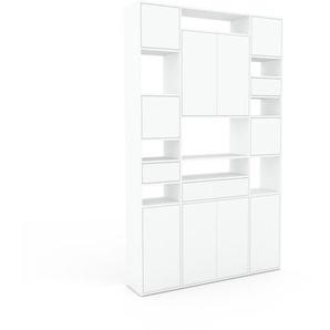 Aktenregal Weiß - Büroregal: Schubladen in Weiß & Türen in Weiß - Hochwertige Materialien - 154 x 253 x 35 cm, konfigurierbar