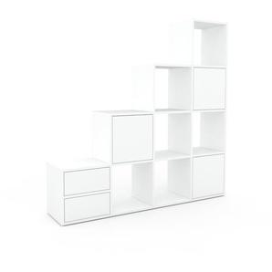 Aktenregal Weiß - Büroregal: Schubladen in Weiß & Türen in Weiß - Hochwertige Materialien - 156 x 157 x 35 cm, konfigurierbar
