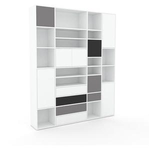 Aktenregal Weiß - Büroregal: Schubladen in Weiß & Türen in Weiß - Hochwertige Materialien - 193 x 234 x 35 cm, konfigurierbar