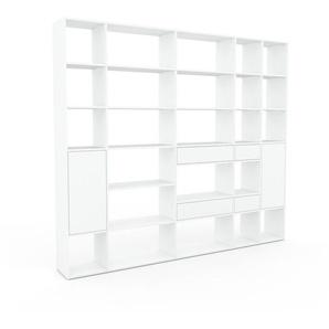 Aktenregal Weiß - Büroregal: Schubladen in Weiß & Türen in Weiß - Hochwertige Materialien - 267 x 233 x 35 cm, konfigurierbar
