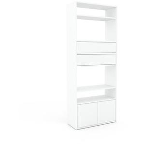 Aktenregal Weiß - Büroregal: Schubladen in Weiß & Türen in Weiß - Hochwertige Materialien - 77 x 195 x 35 cm, konfigurierbar