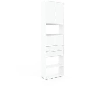 Aktenregal Weiß - Büroregal: Schubladen in Weiß & Türen in Weiß - Hochwertige Materialien - 77 x 272 x 35 cm, konfigurierbar