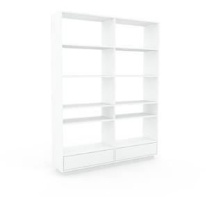 Aktenregal Weiß - Flexibles Büroregal: Schubladen in Weiß - Hochwertige Materialien - 152 x 200 x 35 cm, konfigurierbar