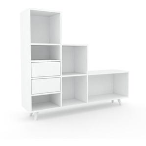Aktenregal Weiß - Flexibles Büroregal: Schubladen in Weiß - Hochwertige Materialien - 154 x 130 x 35 cm, konfigurierbar