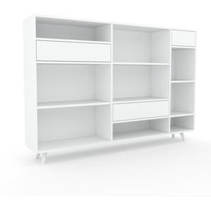 Aktenregal Weiß - Flexibles Büroregal: Schubladen in Weiß - Hochwertige Materialien - 190 x 130 x 35 cm, konfigurierbar