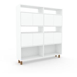 Aktenregal Weiß - Flexibles Büroregal: Türen in Weiß - Hochwertige Materialien - 152 x 168 x 35 cm, konfigurierbar