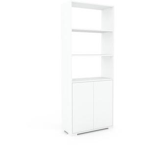 Aktenregal Weiß - Flexibles Büroregal: Türen in Weiß - Hochwertige Materialien - 77 x 196 x 35 cm, konfigurierbar