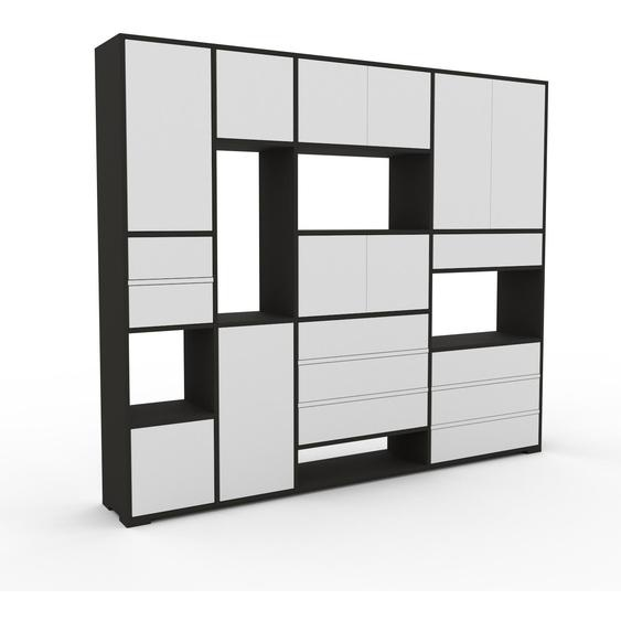 Aktenschrank Anthrazit - Büroschrank: Schubladen in Weiß & Türen in Weiß - Hochwertige Materialien - 229 x 196 x 35 cm, Modular